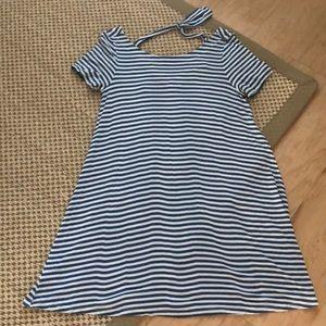LOFT Blue Striped Mini Swing Dress
